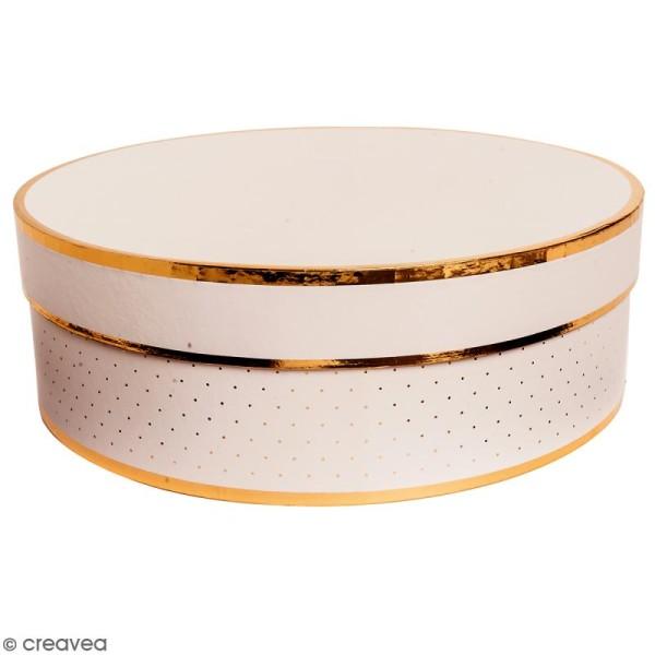 Boîte cadeau Ronde à couvercle - Rose bords dorés - 30 x 10 cm - Photo n°1