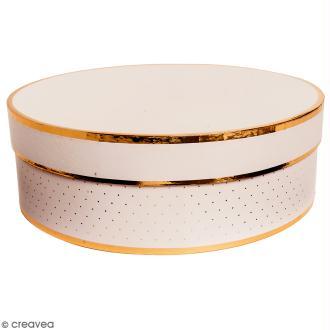 Boîte cadeau Ronde à couvercle - Rose bords dorés - 30 x 10 cm