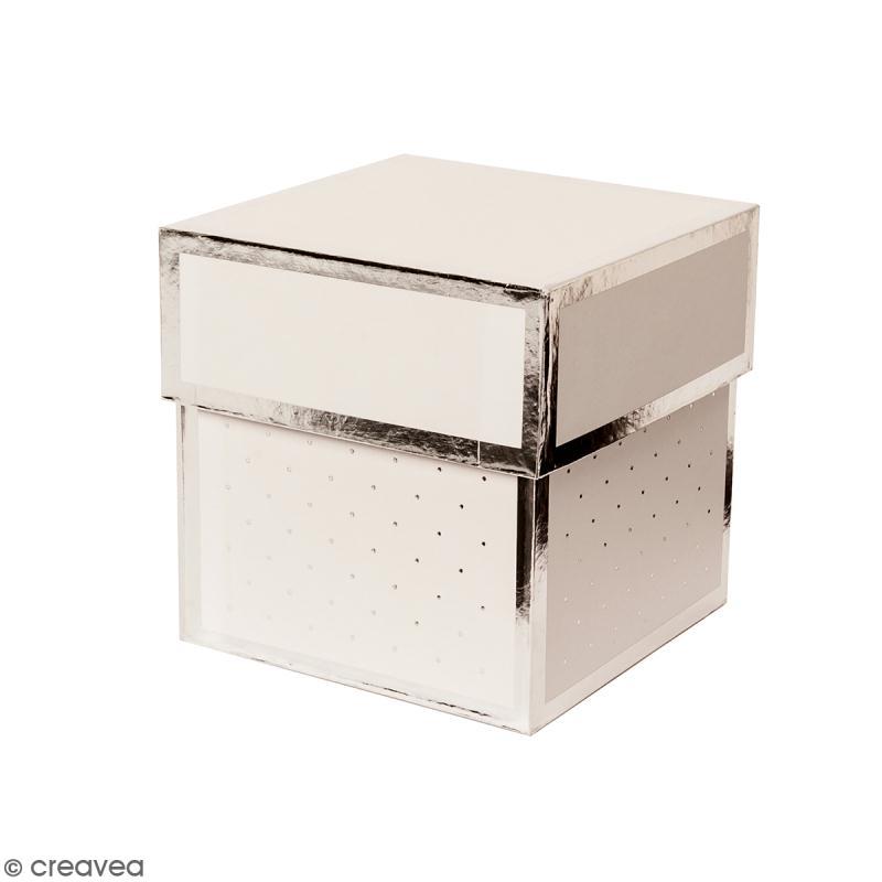 Boîte cadeau Carrée à couvercle - Blanc bords argentés - 10 x 10 x 10 cm - Photo n°1