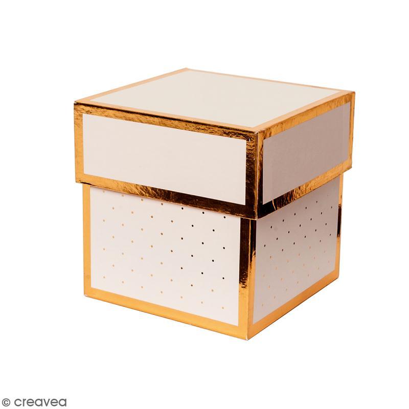 Boîte cadeau Carrée à couvercle - Rose bords dorés - 10 x 10 x 10 cm - Photo n°1