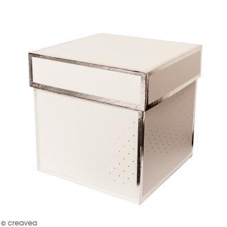 Boîte cadeau Carrée à couvercle - Blanc bords argentés - 15 x 15 x 15 cm