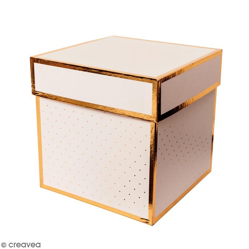 Boîte cadeau Carrée à couvercle - Rose bords dorés - 15 x 15 x 15 cm - Photo n°1