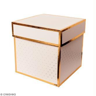 Boîte cadeau Carrée à couvercle - Rose bords dorés - 15 x 15 x 15 cm