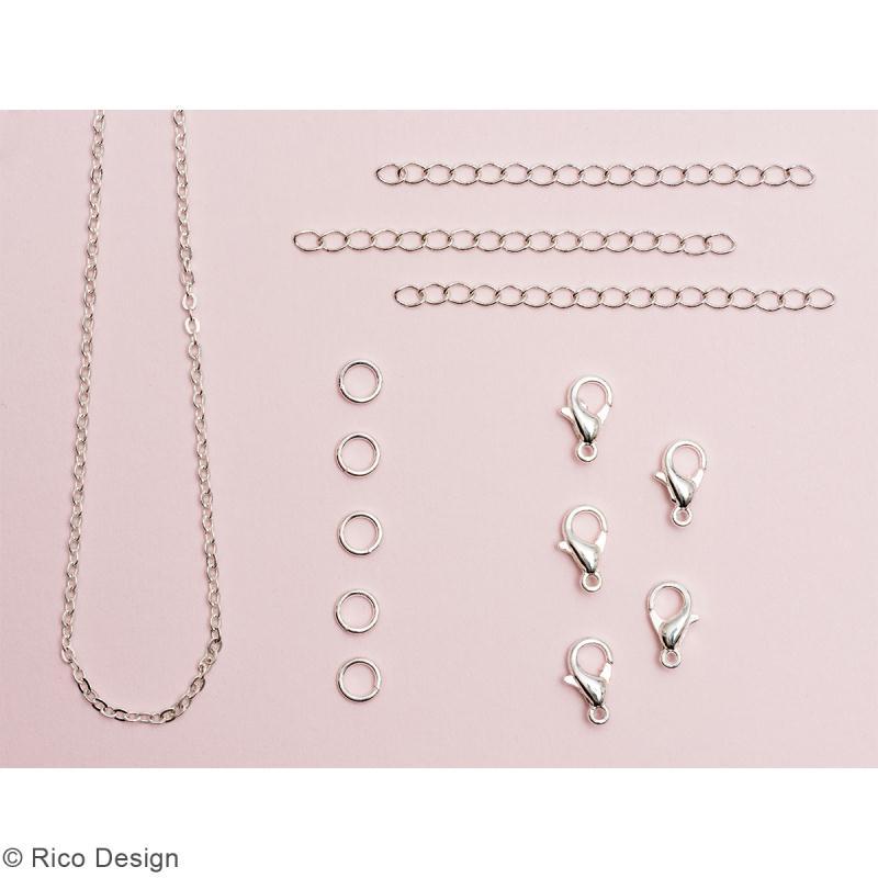 Set fermoirs mousqueton et chaine pour bijoux - Argenté - 14 pcs - Photo n°2