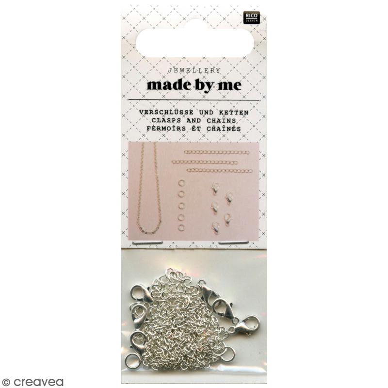 Set fermoirs mousqueton et chaine pour bijoux - Argenté - 14 pcs - Photo n°1