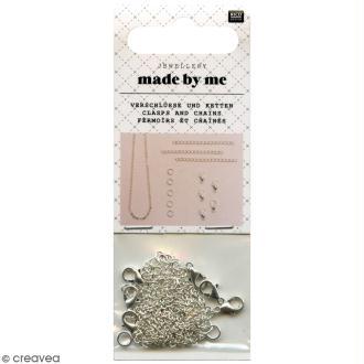 Set fermoirs mousqueton et chaine pour bijoux - Argenté - 14 pcs