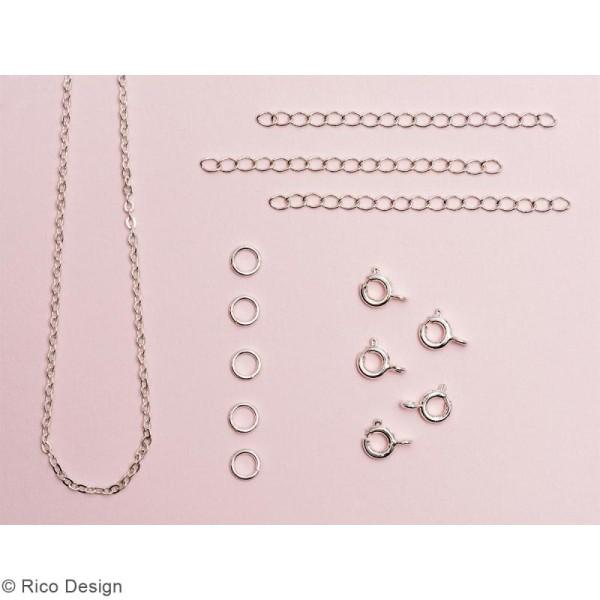 Set fermoirs à ressort et chaine pour bijoux - Argenté - 14 pcs - Photo n°2