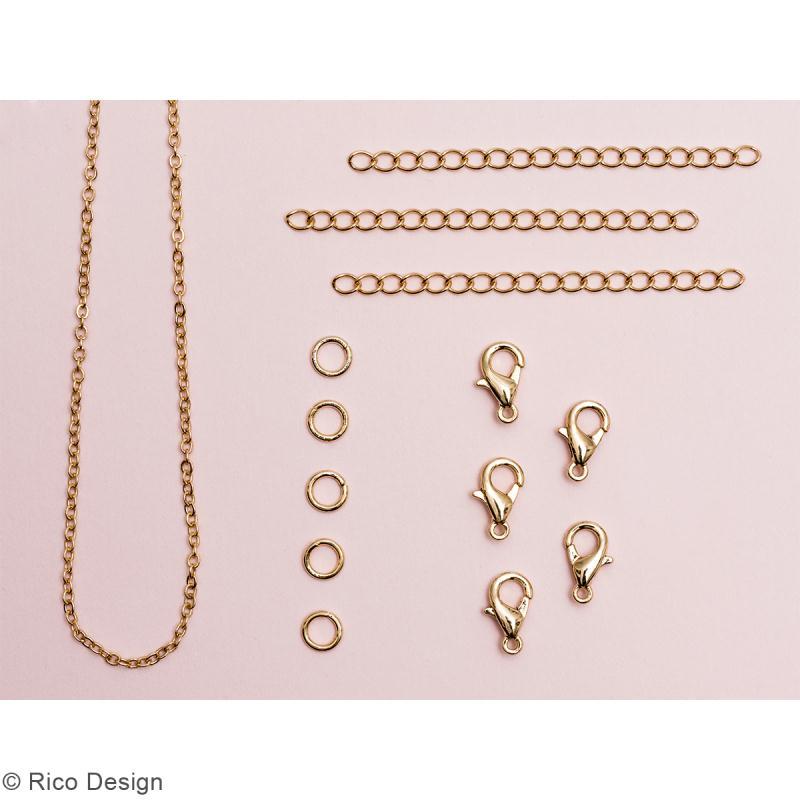 Set fermoirs mousquetons et chaine pour bijoux - Doré - 14 pcs - Photo n°2