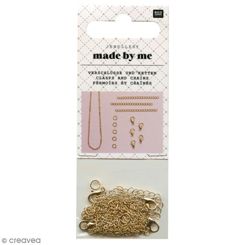 Set fermoirs mousquetons et chaine pour bijoux - Doré - 14 pcs - Photo n°1