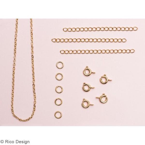 Set fermoirs à ressorts et chaine pour bijoux - Doré - 14 pcs - Photo n°2
