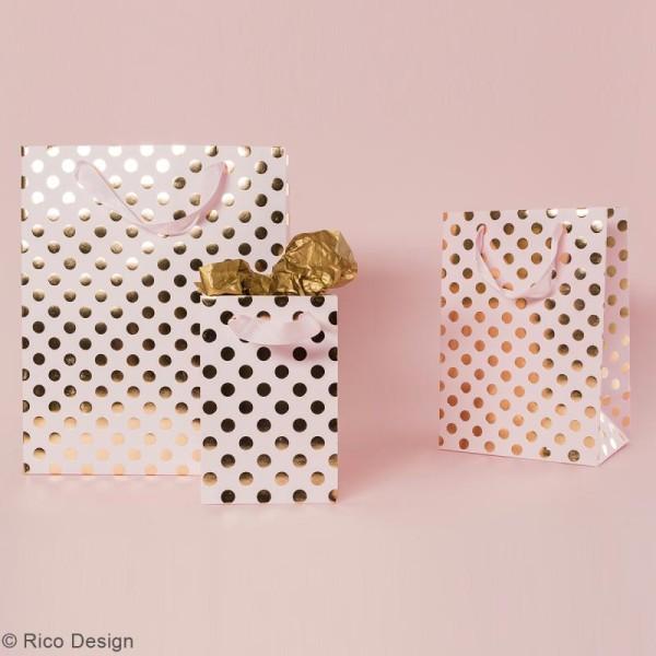 Sac cadeau Rose à pois dorés - 12 x 18 cm - Photo n°2