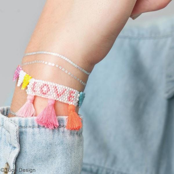 Kit brick stitch - Bracelet à pompons Love - Photo n°2