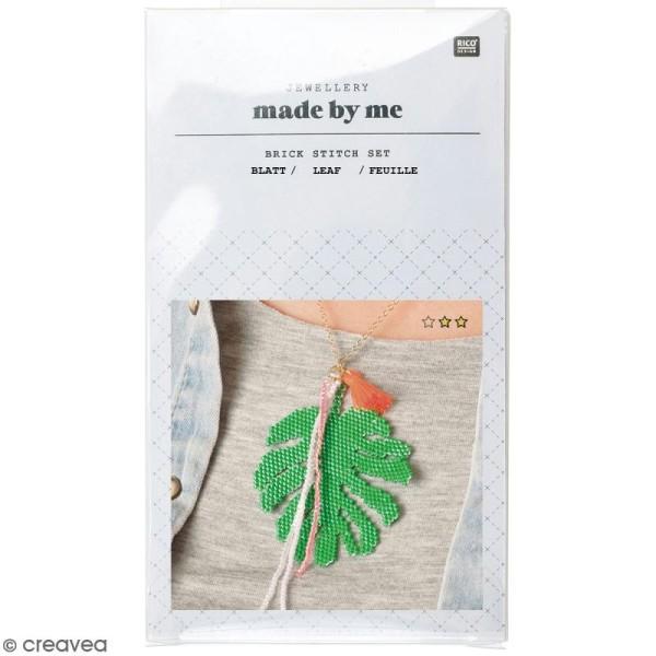 Kit brick stitch - Pendentif Feuille tropicale à pompon - Photo n°1