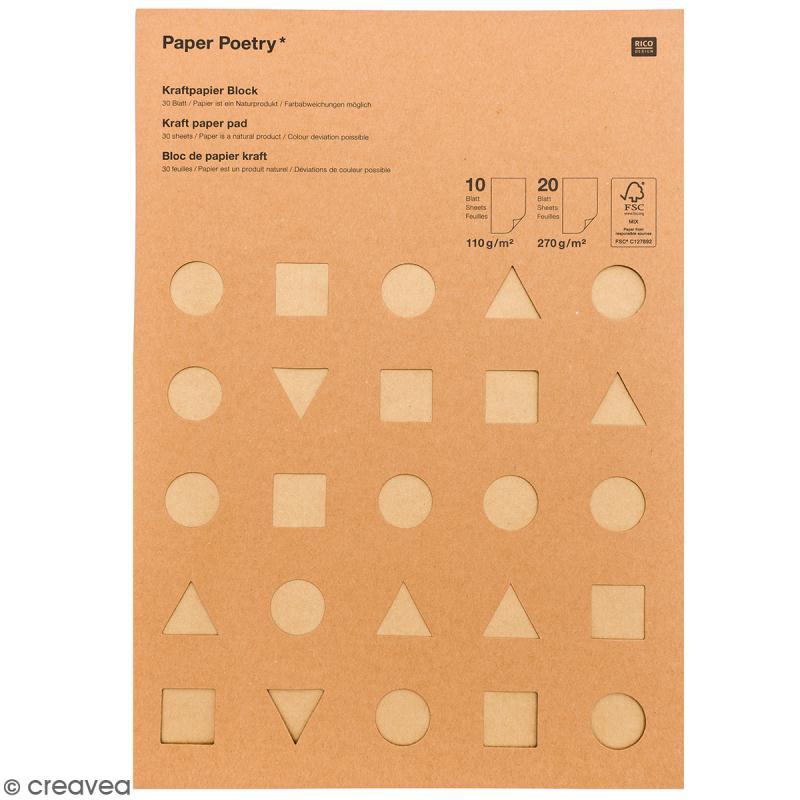 Papier Kraft A4 - 3 couleurs - 2 épaisseurs - 30 pcs - Photo n°1