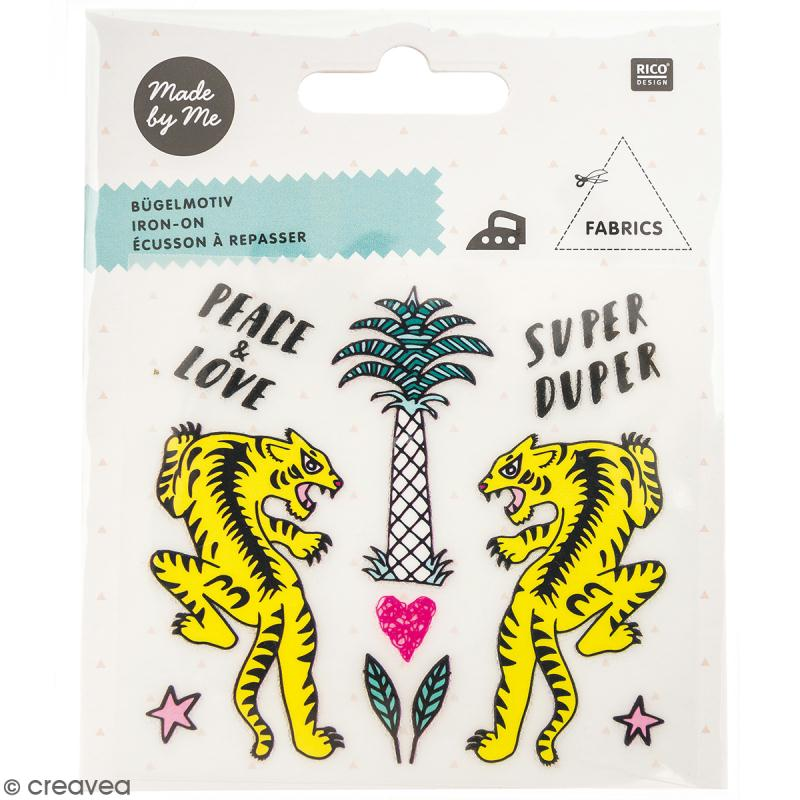 Stickers Flex thermocollant Made by me Rico Design - Tigre et palmier - 10 pcs - Photo n°1