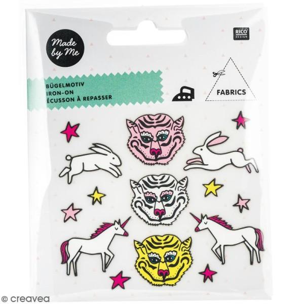 Stickers Flex thermocollant Made by me Rico Design - Tigre, licorne, lièvre - 15 pcs - Photo n°1