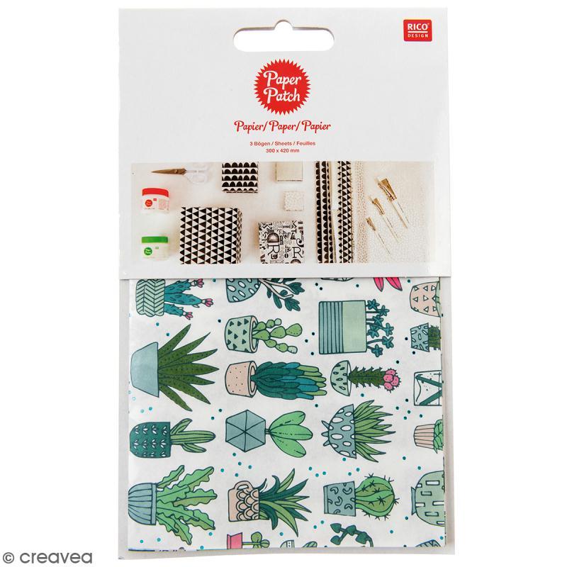 Papier Paper Patch Hygge - Cactus sur fond blanc - 30 x 42 cm - 3 pcs - Photo n°1