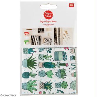 Papier Paper Patch Hygge - Cactus sur fond blanc - 30 x 42 cm - 3 pcs