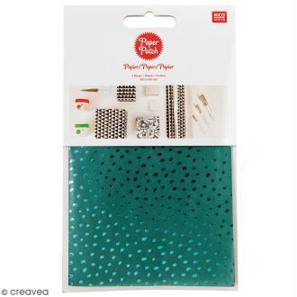 Papier Paper Patch Hygge - Points métallisés sur fond vert - 30 x 42 cm - 3 pcs