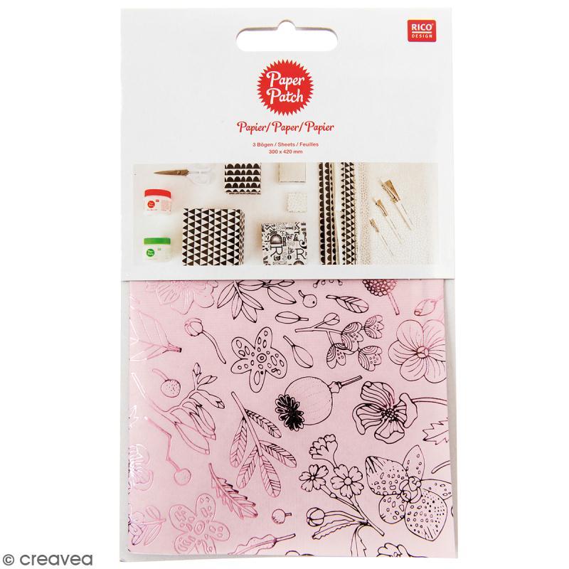 Papier Paper Patch Hygge - Fleurs et baies métallisées sur fond rose - 30 x 42 cm - 3 pcs - Photo n°1