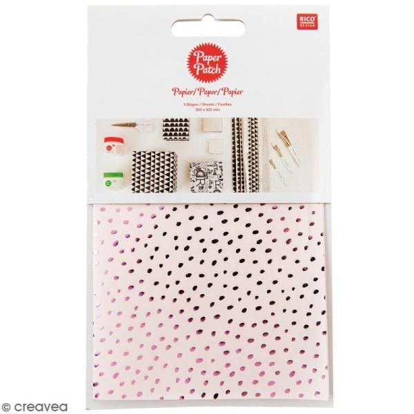 Papier Paper Patch Hygge - Points métallisés sur fond rose - 30 x 42 cm - 3 pcs - Photo n°1