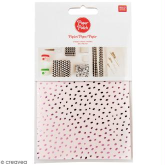 Papier Paper Patch Hygge - Points métallisés sur fond rose - 30 x 42 cm - 3 pcs