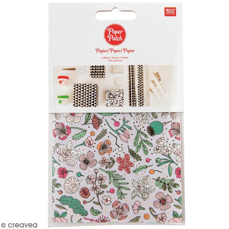 Papier Paper Patch Hygge - Fleurs détails dorés sur fond lilas - 30 x 42 cm - 3 pcs - Photo n°1