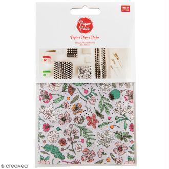 Papier Paper Patch Hygge - Fleurs détails dorés sur fond lilas - 30 x 42 cm - 3 pcs