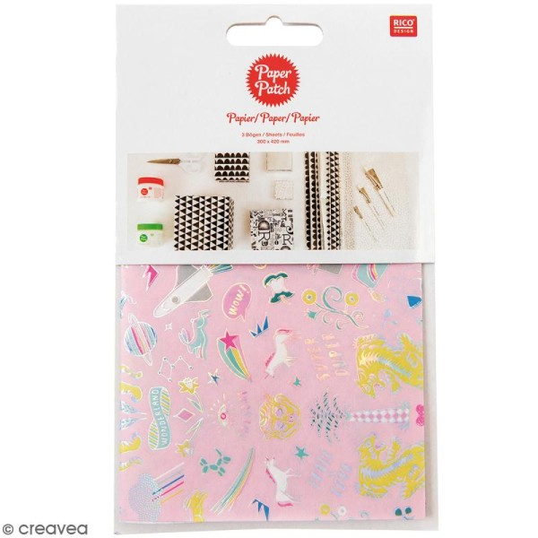 Papier Paper Patch Wonderland - Motifs tigre et licornes sur fond rose - 30 x 42 cm - 3 pcs - Photo n°1