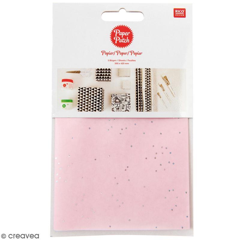 Papier Paper Patch Wonderland - Points argentés sur fond rose - 30 x 42 cm - 3 pcs - Photo n°1