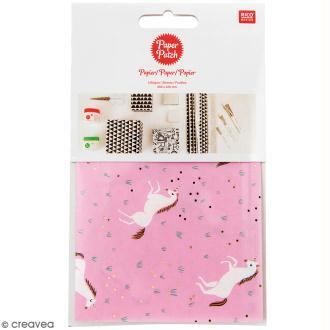 Papier Paper Patch Wonderland - Licornes sur fond rose - 30 x 42 cm - 3 pcs