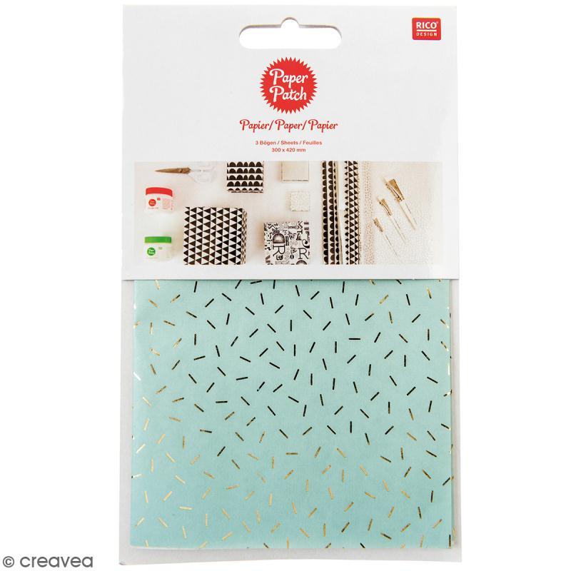 Papier Paper Patch Wonderland - Vermicelles dorés sur fond menthe - 30 x 42 cm - 3 pcs - Photo n°1