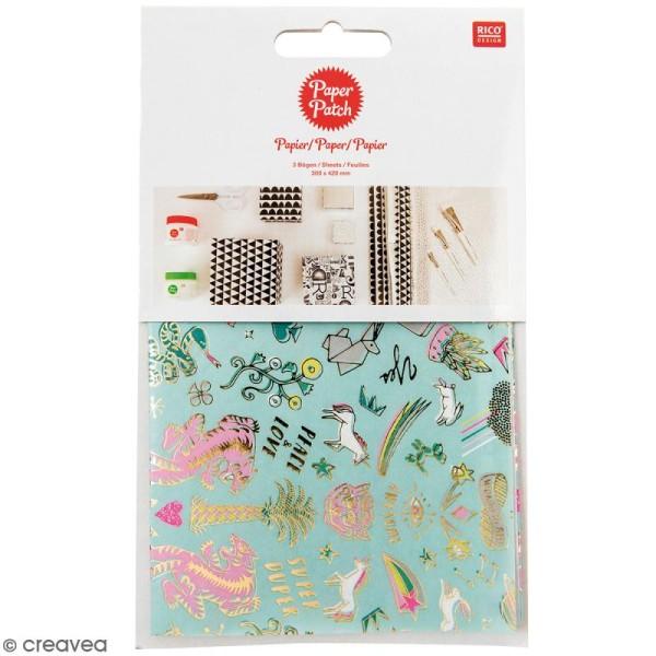 Papier Paper Patch Wonderland - Motifs tigre et licornes sur fond menthe - 30 x 42 cm - 3 pcs - Photo n°1