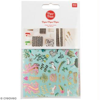 Papier Paper Patch Wonderland - Motifs tigre et licornes sur fond menthe - 30 x 42 cm - 3 pcs