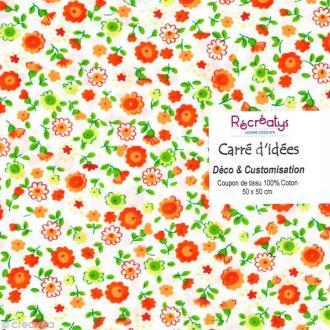 Coupon tissu patchwork N°7 - Fleuris - 50 x 50 cm