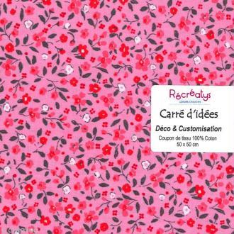 Coupon tissu patchwork N°10 - Fleuris - 50 x 50 cm