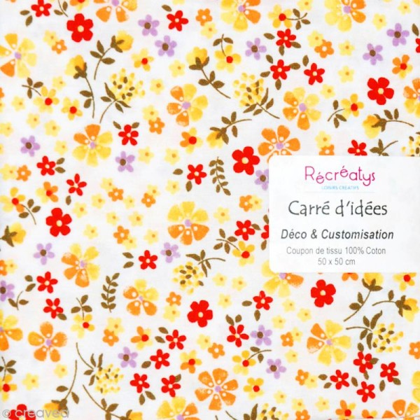 Coupon tissu patchwork N°14 - Fleuris - 50 x 50 cm - Photo n°1
