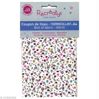 Tissu Thermocollant - Fleuri N°9 - A4