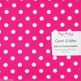 Coupon tissu patchwork - Pois Rose et Blanc - 45 x 55 cm