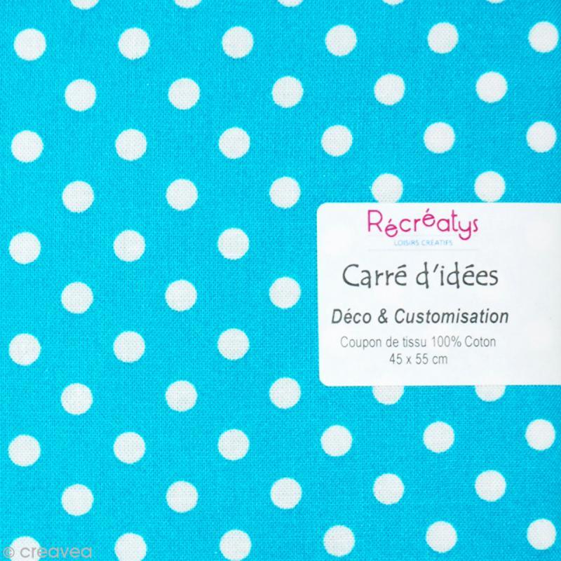 coupon tissu patchwork pois bleu turquoise et blanc 45 x 55 cm coupon de tissus creavea. Black Bedroom Furniture Sets. Home Design Ideas