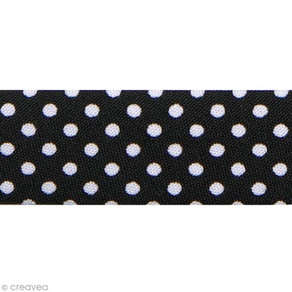 Biais Pois 20 mm Noir et Blanc - Au mètre (sur mesure) - Photo n°1