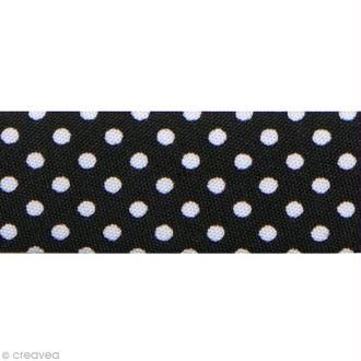 Biais Pois 20 mm Noir et Blanc - Au mètre (sur mesure)