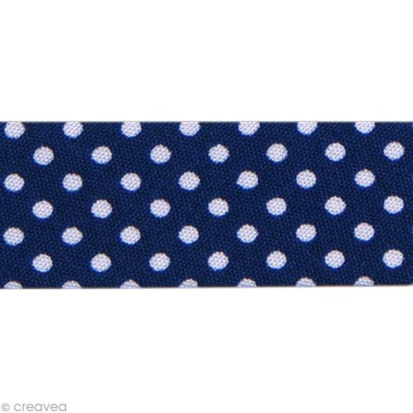 Biais Pois 20 mm Bleu Nuit et Blanc - Au mètre (sur mesure) - Photo n°1