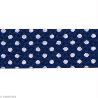 Biais Pois 20 mm Bleu Nuit et Blanc - Au mètre (sur mesure)
