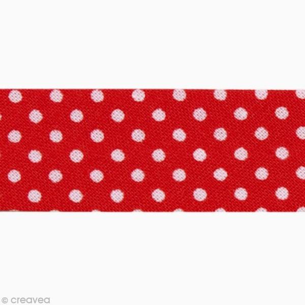 Biais Pois 20 mm Rouge et Blanc - Au mètre (sur mesure) - Photo n°1