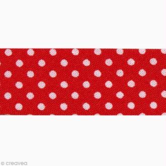 Biais Pois 20 mm Rouge et Blanc - Au mètre (sur mesure)