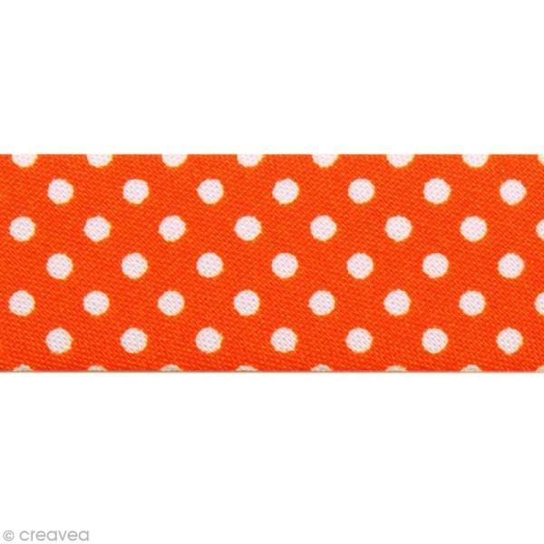 Biais Pois 20 mm Orange Vif et Blanc - Au mètre (sur mesure) - Photo n°1