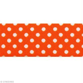 Biais Pois 20 mm Orange Vif et Blanc - Au mètre (sur mesure)