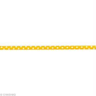 Ruban Spaghetti - Pois Jaune et Blanc 7 mm - Au mètre (sur mesure)