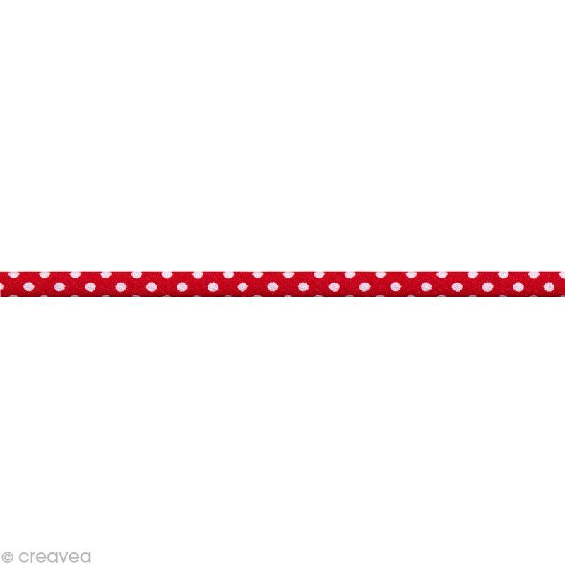ruban spaghetti pois rouge et blanc 7 mm au m tre sur mesure ruban spaghetti creavea. Black Bedroom Furniture Sets. Home Design Ideas